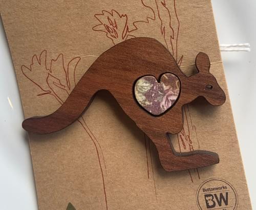 Kangaroo Heart Brooch