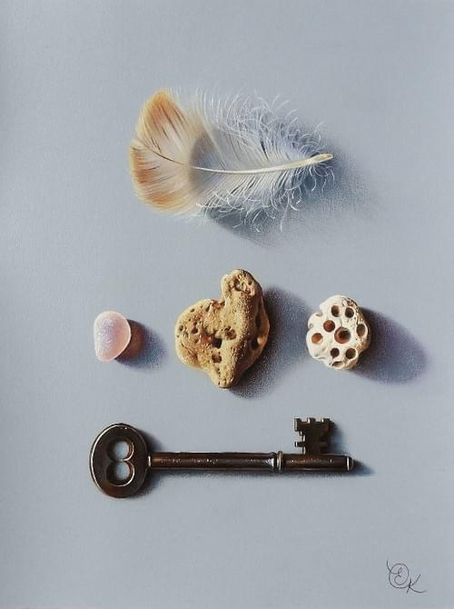 Feather, keys and stones
