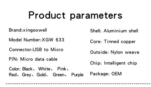 Nylon Braiding Zinc Alloy Shell Micro USB Cable, Micro USB Charging Cable, Best Micro USB Cable Bulk