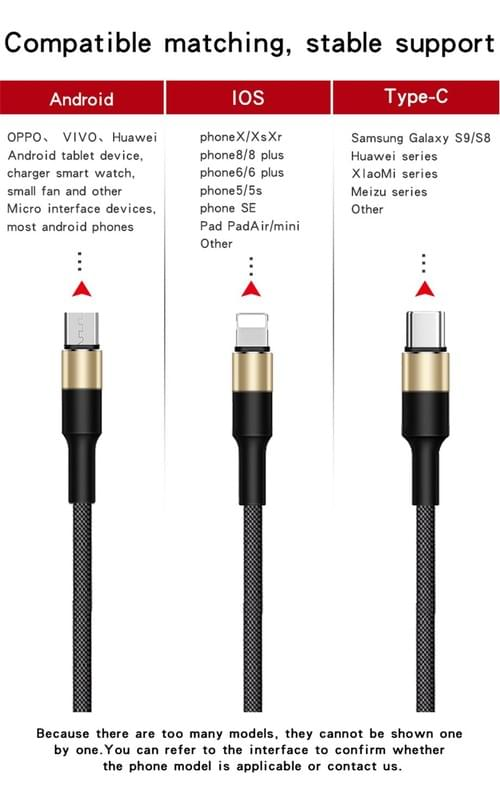 Round Head 3 in 1 Charging Cable 3in1 Universal USB Charging Cable (custom cable with data sync)