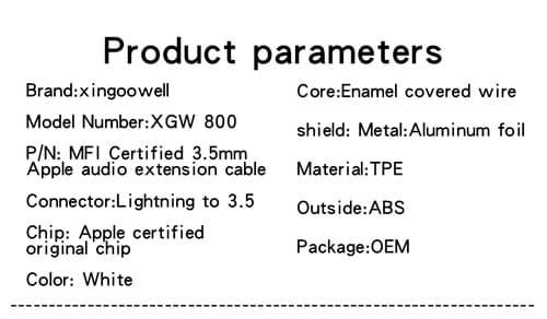 XGW800 MFI certified Apple Lightning to 3.5mm Headphone Jack Adapter White C100 chip