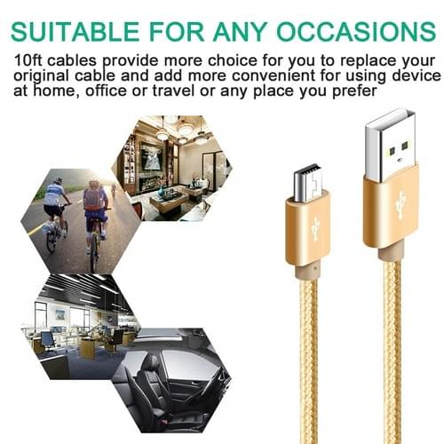 Mini B USB2.0 5 Pin  Cable trapezoid 1M/2m for MP3/4 Phone Charger Nylon Braided Data Cable
