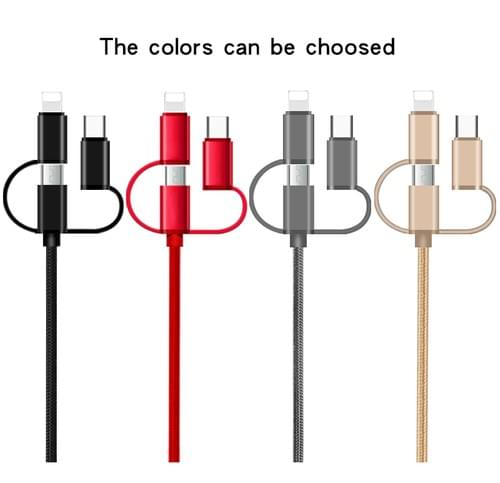 XGW659 3 in1 nylon braided Data Cable, 3 in 1 USB Data and Charging Cable 3 in 1 USB Data Cable Bulk