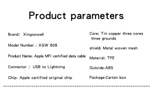 XGW808 MFI Certified 3FT Data Cable, Aple Lightning Cable, Apple Accessories Supplier