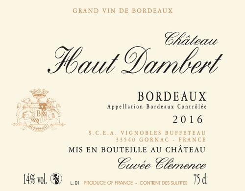Château Haut Dambert - Cuvée Clémence Red 2018