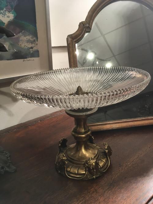 Coupe en bronze et cristal Napoléon III