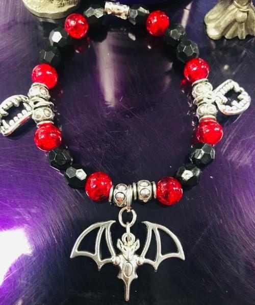 Black and Red Bat bracelet