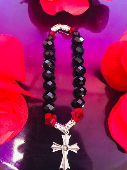 Black and Red Cross Bracelet