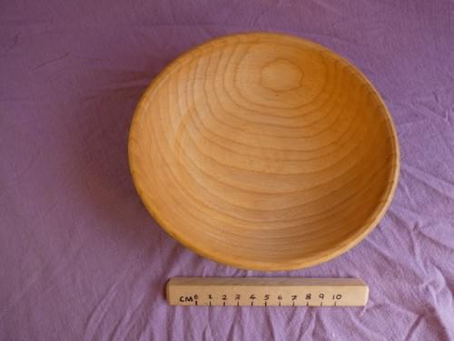 Ash shallow bowl with green milk-paint