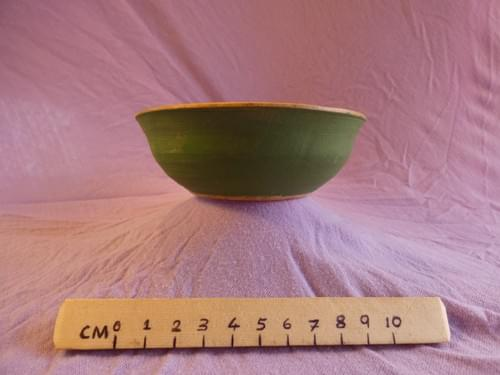 Birch bowl with green milk-paint