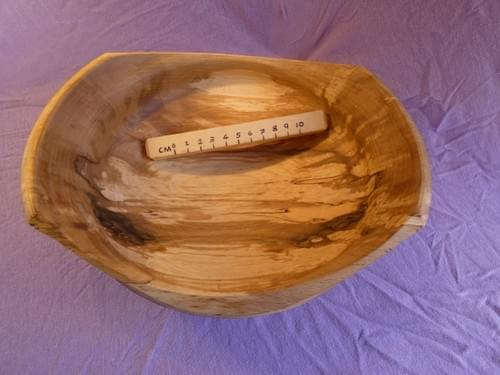Spalted Beech upsweeping handled bowl.