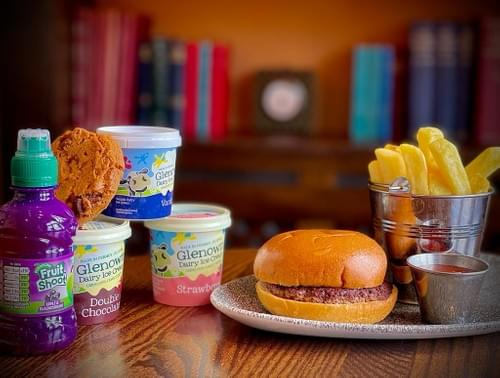 Kids Burger  Meal Deal Fruit Shoot and Glenown Ice Cream or Chocolate Chip Cookie