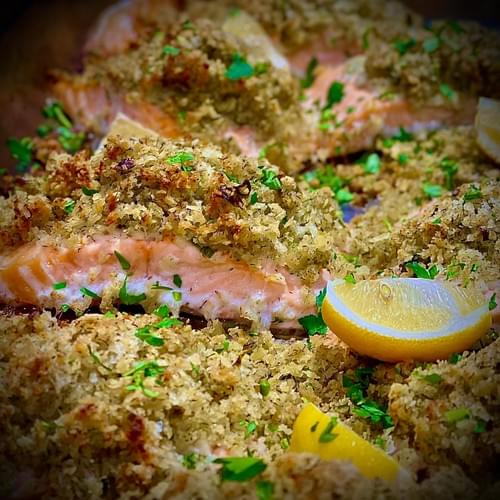 Baked Fillet of Salmon, Orange Pepper Crust with a Light White Wine & Cheese Mornay sauce