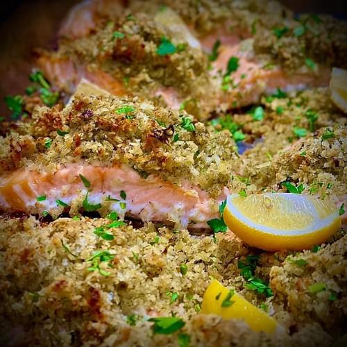 Baked Fillet of Salmon, Lemon & Dill Crust, Mornay Sauce
