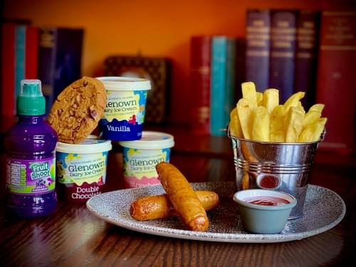 Kids Sausages Meal Deal  Fruit Shoot and Glenown Ice Cream or Chocolate Chip Cookie