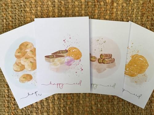 Set of 4 greeting cards- Eid Sweets