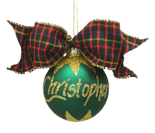 Personalised Green Christmas Bauble