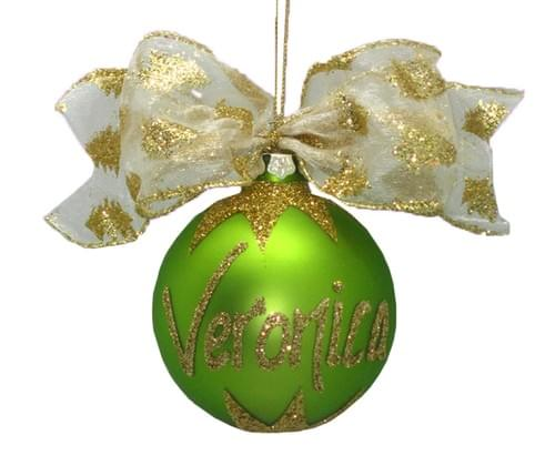 Personalised Lime Green Christmas Bauble