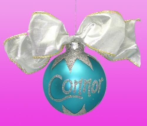 Personalised Turquoise Christmas Bauble