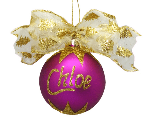 Personalised Hot Pink Christmas Bauble