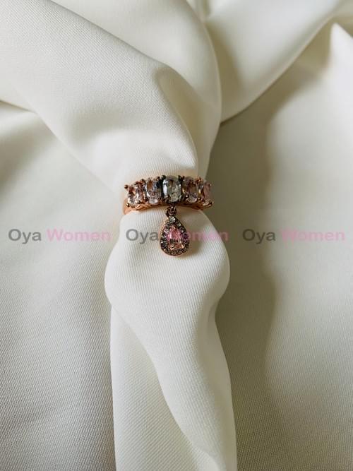Big tear drop shape pink ring