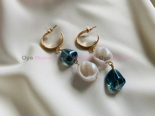 Pearl and blue beads