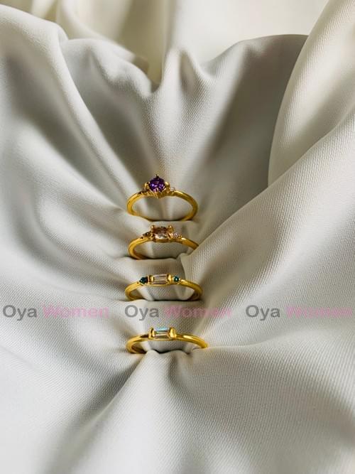 Gold plated minimalist stone ring set