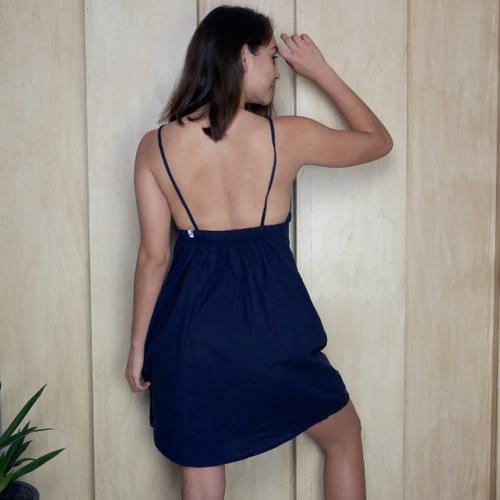 Vestido de lino con tirantes, azul marino