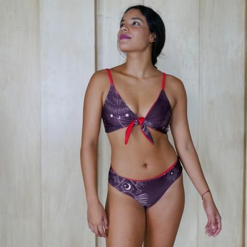 bikini set doble vista amarre delantero, tinto liso rojo
