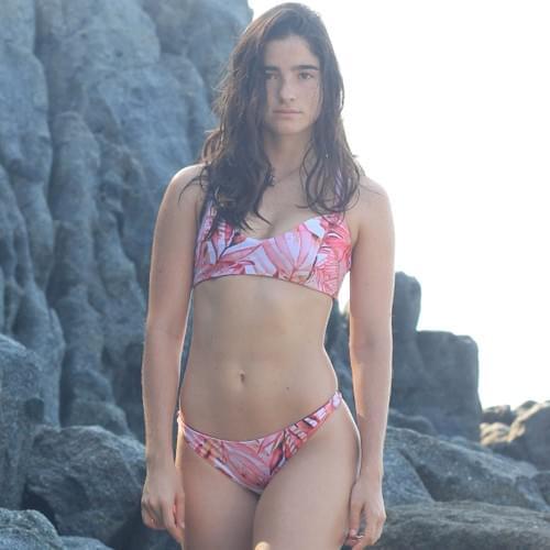 Bikini tirantes cruzados, stampado rosa/vista 2 burgundy