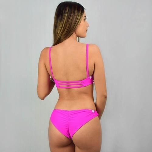 Bikini doble vista rosa, calzón cobertura completa