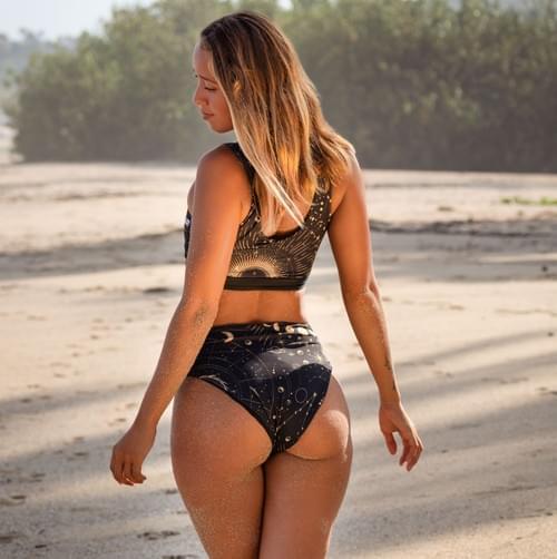 bikini set doble vista negro con dorado | negro