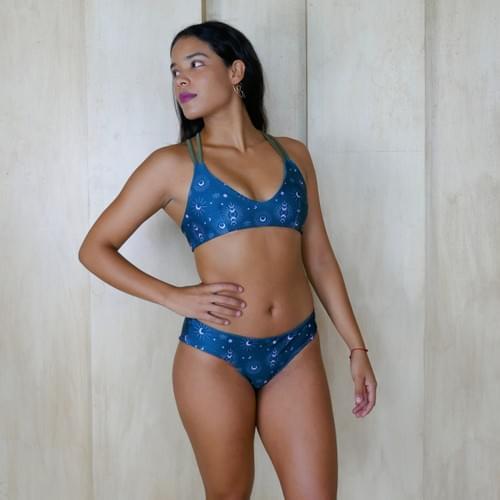 Bikini set doble vista verde esmeralda estampado de lunas| verde militar