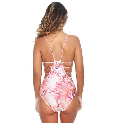Traje completo estampado rosa, tiras en espalda