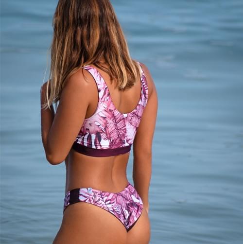 Bikini set doble vista hojas tinto | tinto