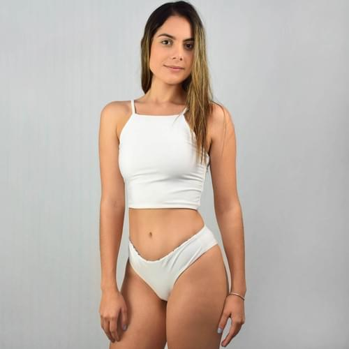 Bikini doble vista blanco, calzón cachetero