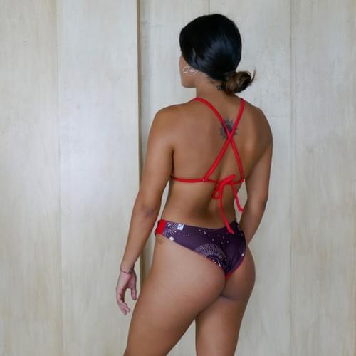 bikini set doble vista tinto con rojo | rojo
