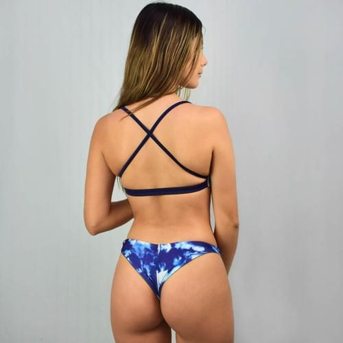 Bikini doble vista azul marino, calzón cachetero