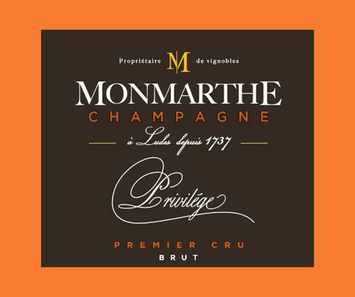 Privilège   Champagne Monmarthe   AOC Champagne   Premier cru   Brut    Label HVE3  75cl