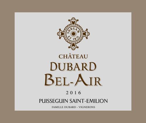 Château Dubard Bel-Air 2016 | AOC Puisseguin Saint-Emilion | Label HVE3 | Rouge 75cl