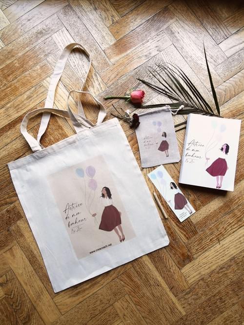 """Duo tote bag + pochette """"Actrice de mon bonheur"""""""