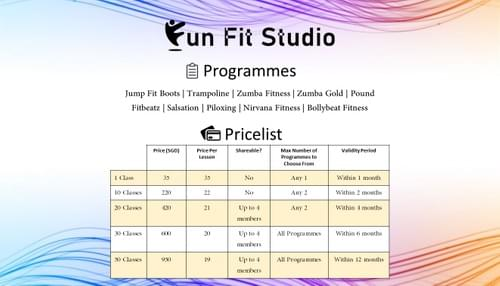 Fun Fit Studio Programmes and Pricelist