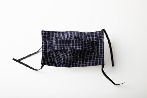 【2サイズ】久留米織 文人柄 プリーツ 布マスク(日本製)