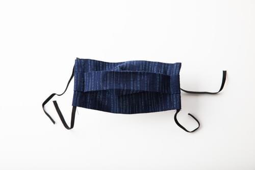 【2サイズ】久留米織 しだれ柳柄 プリーツ 布マスク(日本製)