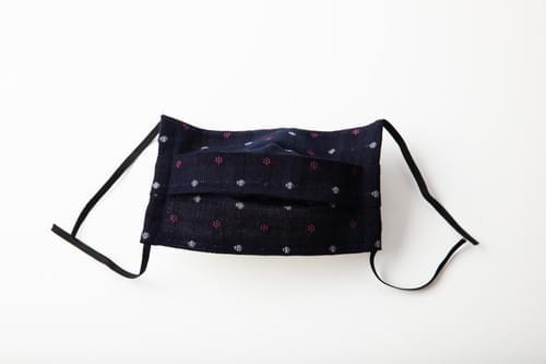 【2サイズ】久留米織 ポツ柄 プリーツ 布マスク(日本製)