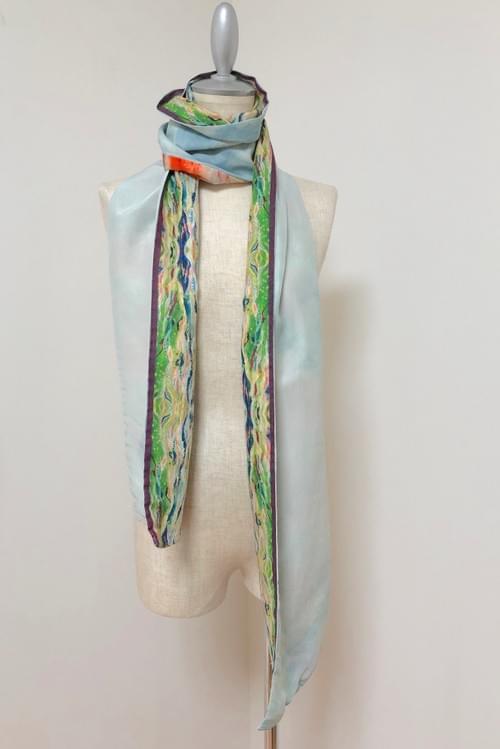 NEW ! ロング草木染め布 × Kanartオリジナルテキスタイル スカーフ