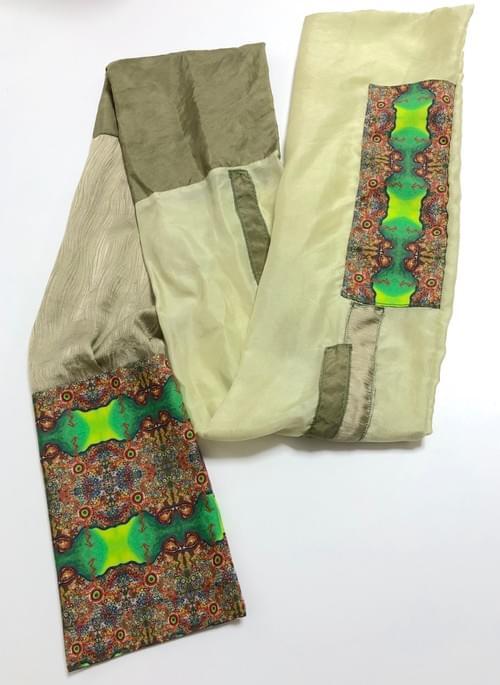 NEW ! よもぎ & 葛の葉 染め布 ×Kanartオリジナルテキスタイル トップ & スカーフセット