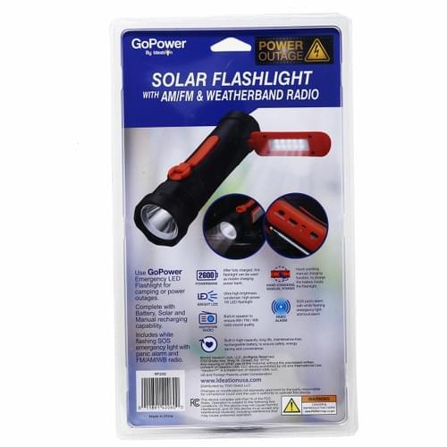 Linterna Solar De Emergencia Gopower Con Radio AM / FM  2600mAh  Bank Con Power AM/FM Radio