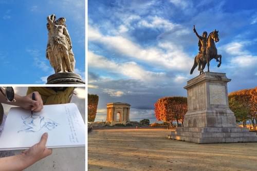 Balade croquée : les statues de Montpellier (34)