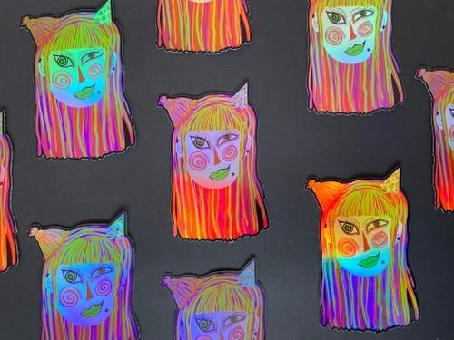 PartyGoul Holographic Amazement Mothie Sticker 4X5 inches